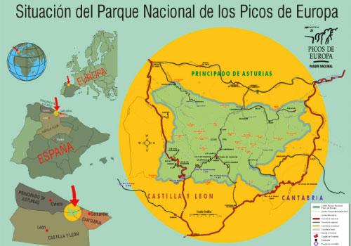 Ubicación del Parque Nacional de los Picos de Europa